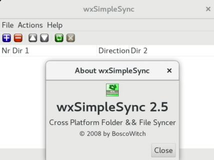 wxSimpleSync linux about dialog