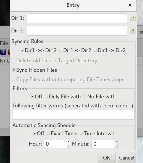 wxSimpleSync linux sync entry dialog